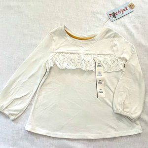 White Long Sleeved T-shirt with lace, sz 2T, NWT